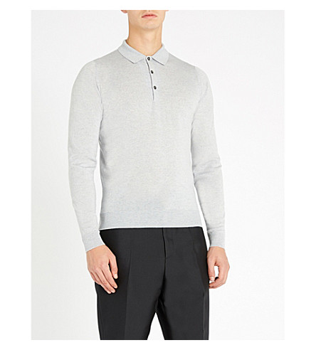 JOHN SMEDLEY Belper knitted polo jumper (Bardot+grey