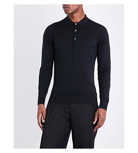 JOHN SMEDLEY Belper knitted polo jumper (Black