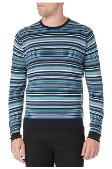 JOHN SMEDLEY Multi-striped cotton jumper