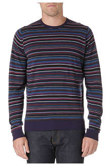 JOHN SMEDLEY Multi-striped wool jumper