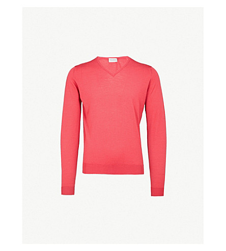 JOHN SMEDLEY Blenheim V-neck wool jumper (Atomic+cerise