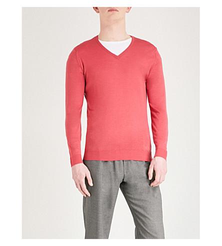 JOHN SMEDLEY Blenheim V-neck merino wool jumper (Atomic+cerise