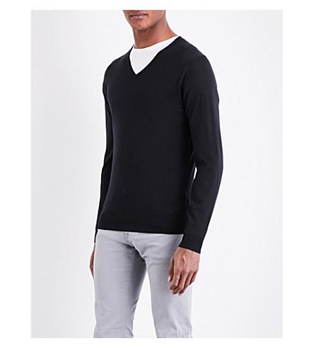 JOHN SMEDLEY Blenheim V-neck merino wool sweater (Black