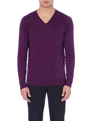 JOHN SMEDLEY V-neck merino wool knit jumper