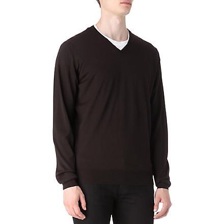 JOHN SMEDLEY Bobby merino wool jumper (Espresso
