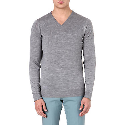 JOHN SMEDLEY Bobby merino wool jumper (Silver