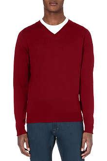 JOHN SMEDLEY V-neck knitted merino jumper