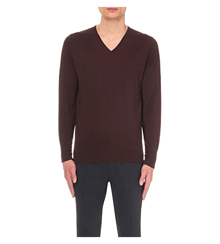JOHN SMEDLEY Bobby merino wool jumper (Chestnut