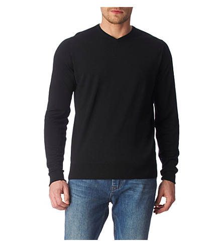 JOHN SMEDLEY Bower high v–neck jumper (Black
