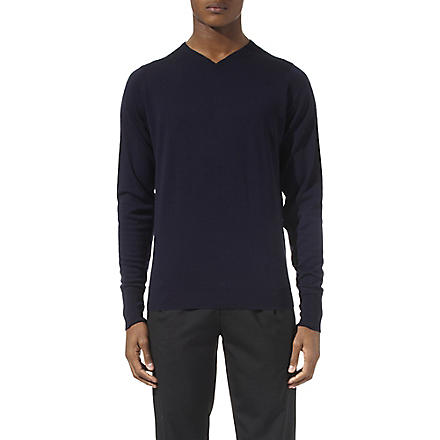 JOHN SMEDLEY Bower high v–neck jumper (Midnight