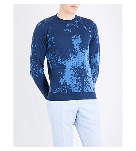 JOHN SMEDLEY Bowland wool jumper (Indigo/derwent+blue