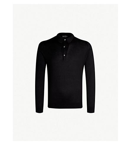 JOHN SMEDLEY Bradwell knitted polo jumper (Black