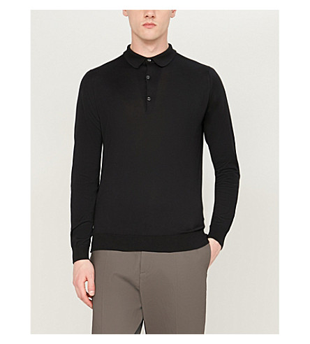 JOHN SMEDLEY Bradwell knitted polo sweater (Black