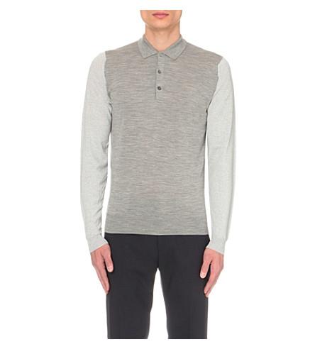 JOHN SMEDLEY Brightgate merino wool polo shirt (Bardot+grey+silv