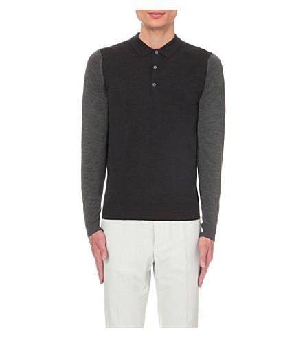 JOHN SMEDLEY Brightgate merino wool polo shirt (Hepburn+smoke+chrcl