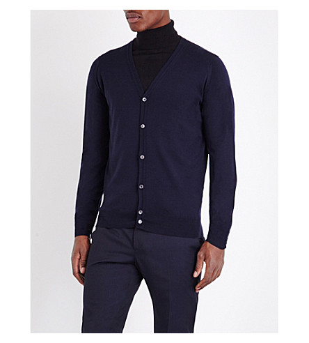 JOHN SMEDLEY Merino wool button-up cardigan (Midnight