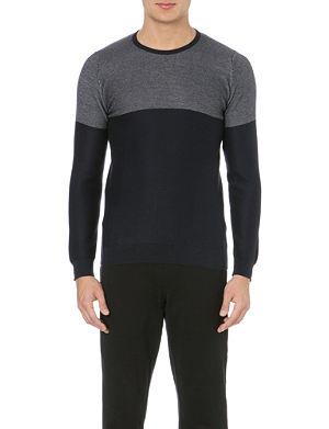JOHN SMEDLEY Block colour merino wool jumper