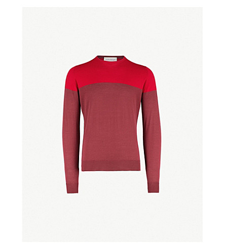 JOHN SMEDLEY Chaldon two-tone wool jumper (Bordeaux/red