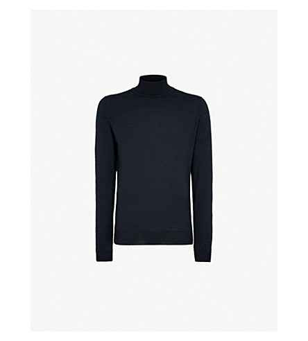 JOHN SMEDLEY Richards turtleneck wool jumper (Black