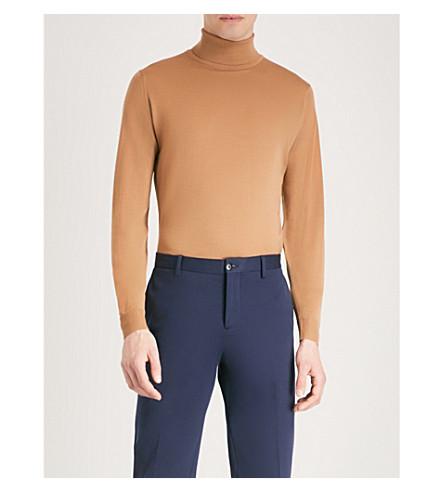 JOHN SMEDLEY Cherwell wool turtleneck jumper (Camel