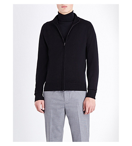 JOHN SMEDLEY Zipped merino-wool cardigan (Black