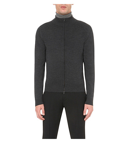JOHN SMEDLEY Zipped merino wool cardigan (Charcoal