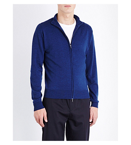 JOHN SMEDLEY Zipped merino-wool cardigan (Indigo