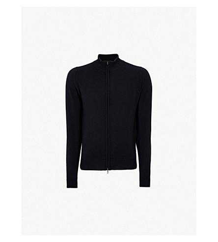 JOHN SMEDLEY Zipped merino wool cardigan (Midnight