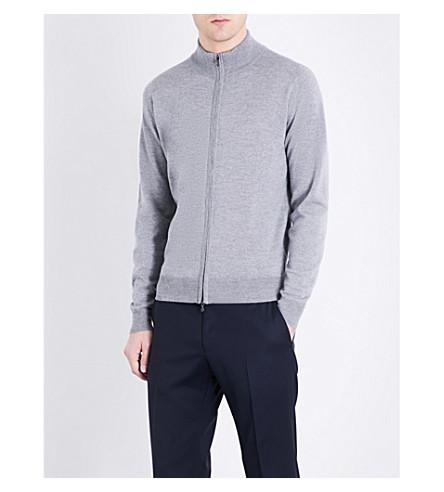 JOHN SMEDLEY Claygate wool cardigan (Silver