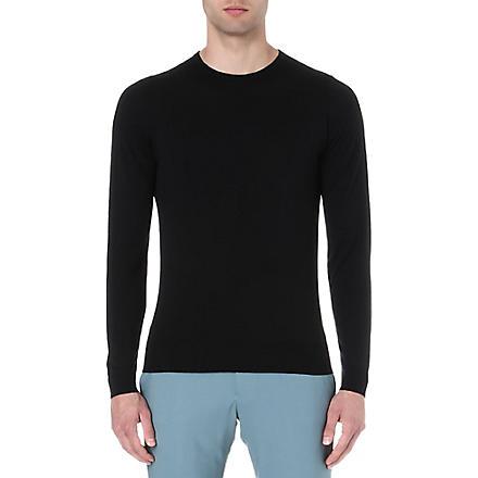 JOHN SMEDLEY Merino wool crew-neck jumper (Black