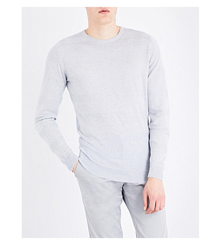 JOHN SMEDLEY Striped merino wool jumper (Bardot+grey