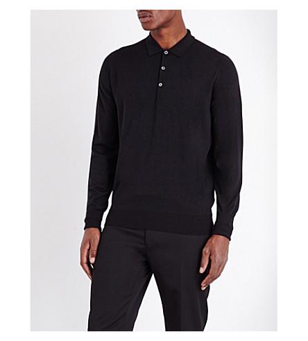 JOHN SMEDLEY Merino wool polo shirt (Black