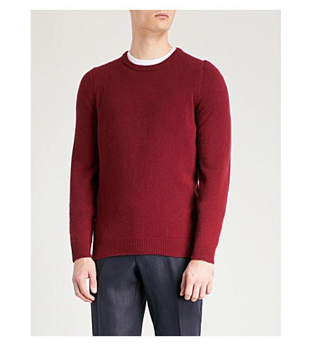 JOHN SMEDLEY Crowford wool and cashmere-blend sweater (Bordeaux