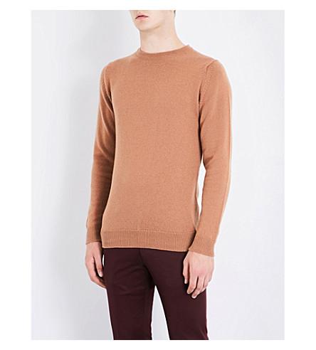 JOHN SMEDLEY Crawford cashmere-blend knitted jumper (Camel