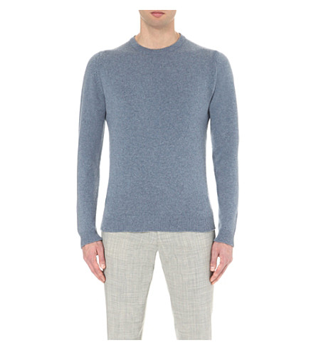 JOHN SMEDLEY Crawford cashmere-blend knitted jumper (Cloudy+blue
