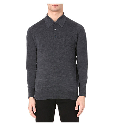 JOHN SMEDLEY Dorset long-sleeved polo shirt (Charcoal