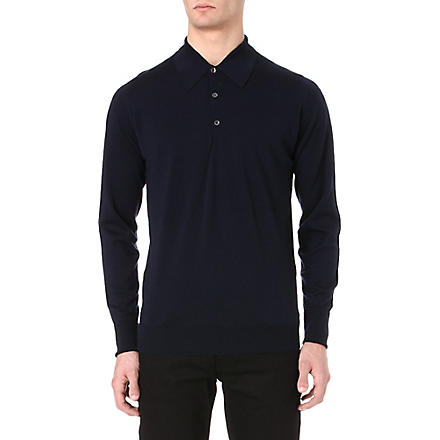 JOHN SMEDLEY Dorset long-sleeved polo shirt (Midnight