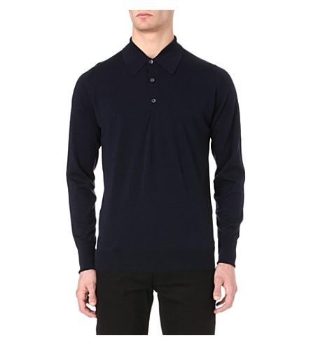 JOHN SMEDLEY Dorset long-sleeved polo shirt (Midnight