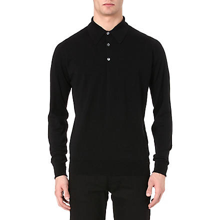 JOHN SMEDLEY Dorset long-sleeved polo shirt (Black