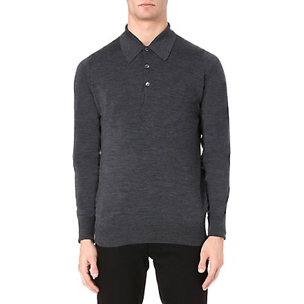 JOHN SMEDLEY Dorset long-sleeved polo shirt (Charcoal