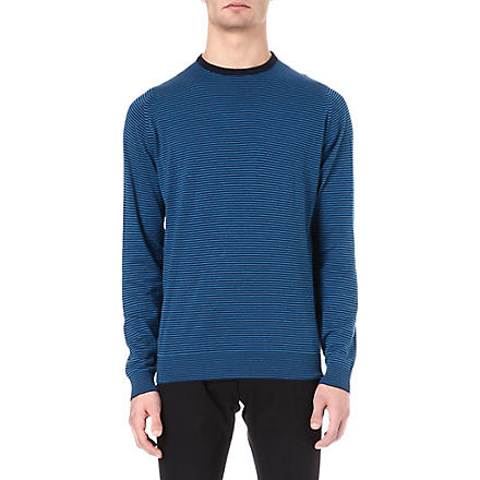 JOHN SMEDLEY Emerson striped jumper (Blue