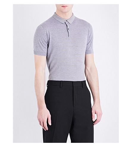 JOHN SMEDLEY Etton striped cotton polo shirt (Silver