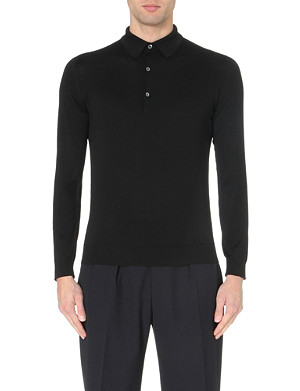 JOHN SMEDLEY Exeter knitted polo jumper