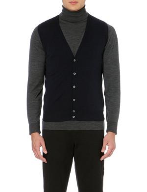 JOHN SMEDLEY Knitted merino wool vest