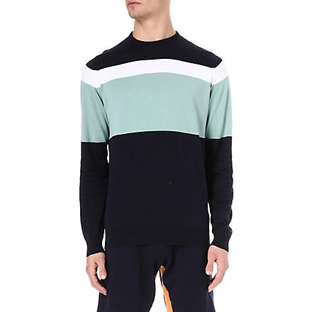 JOHN SMEDLEY Gabe colourblocked jumper (Navy/green