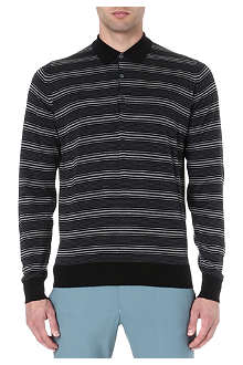 JOHN SMEDLEY Merino wool striped polo jumper