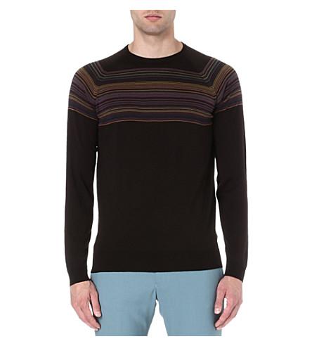 JOHN SMEDLEY Merino wool half stripe jumper (Espresso