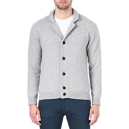 JOHN SMEDLEY Merino wool and cashmere cardigan (Silver