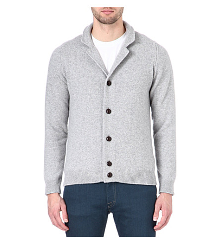 JOHN SMEDLEY Merino wool and cashmere cardigan (Silver