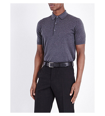 JOHN SMEDLEY Haddon cotton and cashmere polo shirt (Charcoal